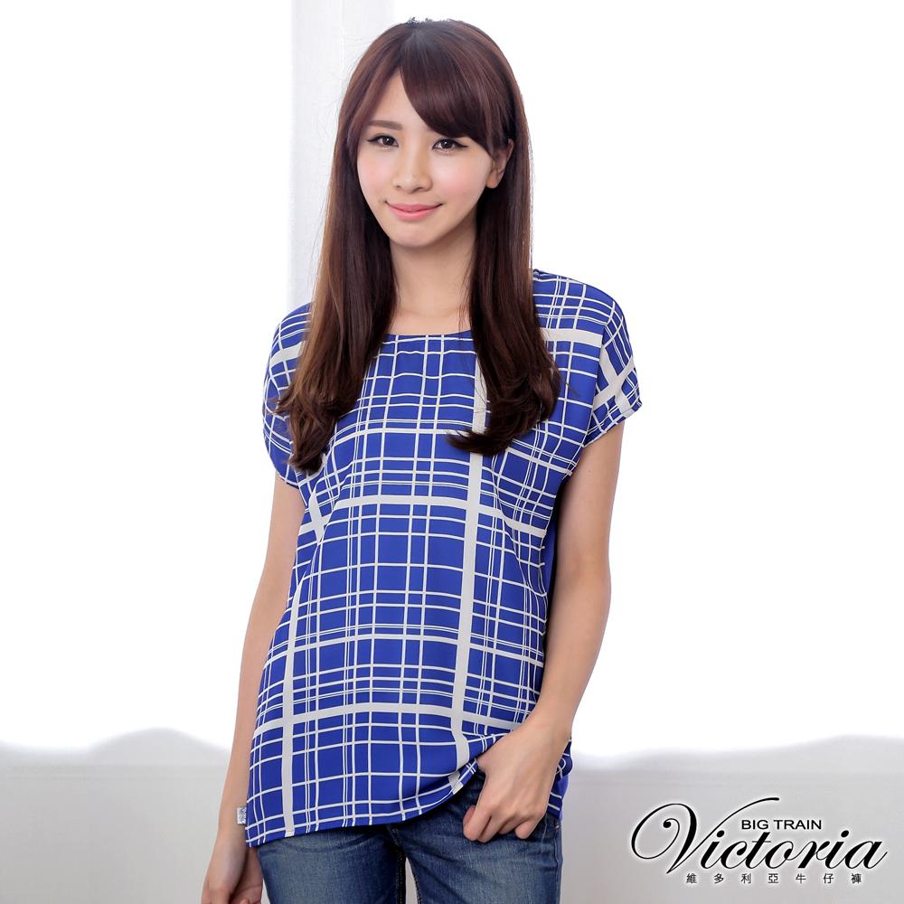 Victoria 浪漫格子雪紡衫-女-寶藍