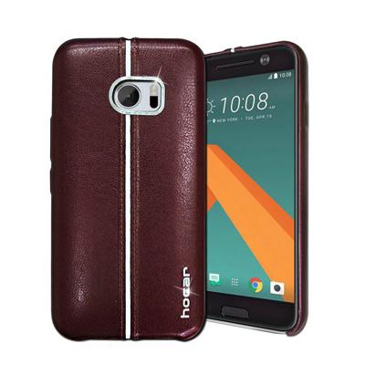 HOCAR HTC 10 / M10 爵士皮革保護手機殼(暗紅)