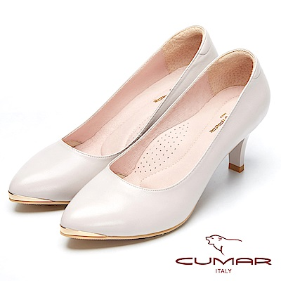 CUMAR優雅美型-簡約風格真皮高跟鞋-芋色