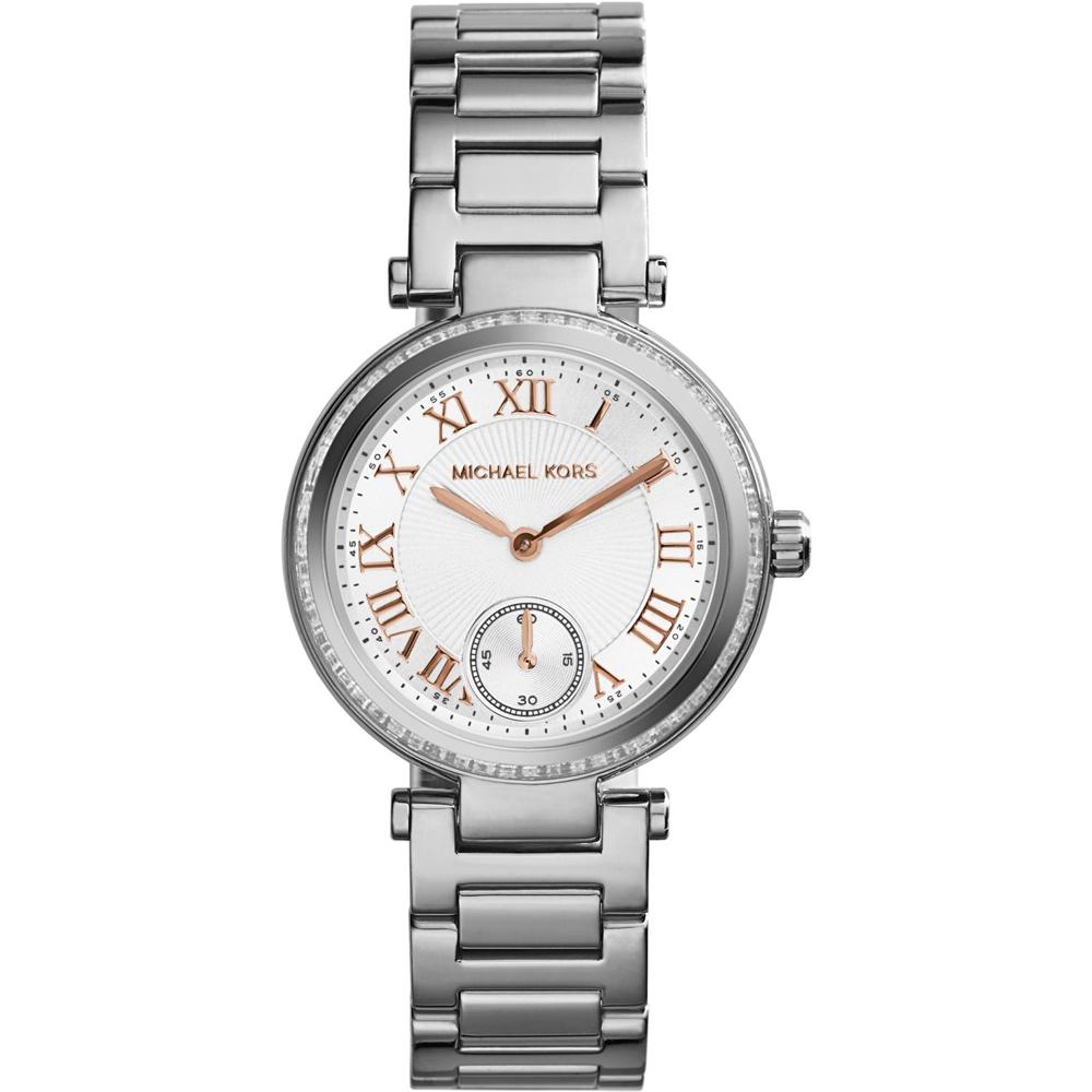 Michael Kors 羅馬時尚小秒針腕錶-銀/33mm