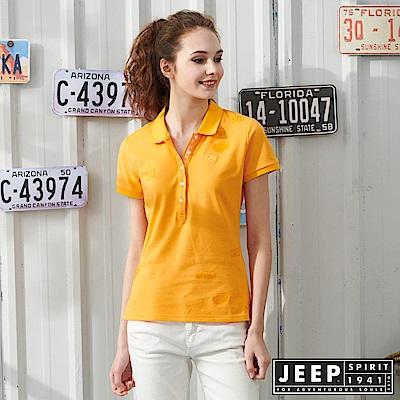 JEEP 女裝 圖騰轉印吸濕排汗POLO衫-橘黃色