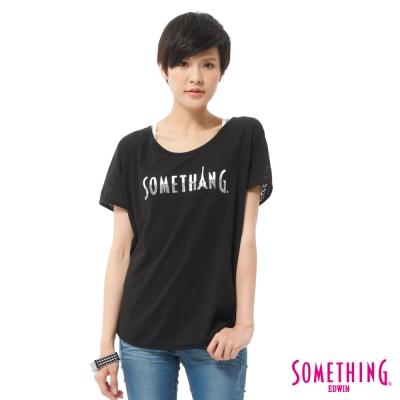 SOMETHING-T恤-玫瑰燒花拼接圓領造型T-女-黑色