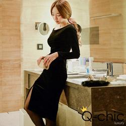 黑天鵝絨性感一字領洋裝 (共二色)-Q-chic