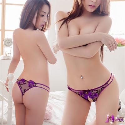 丁字褲 性感前開襠丁字褲(紫) Moira