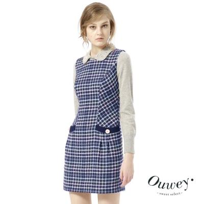 OUWEY歐薇-甜美彩格毛料背心-藍