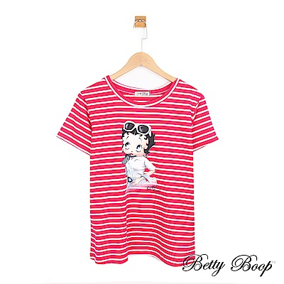 Betty Boop貝蒂 貝蒂大圖條紋彈性上衣(共三色)