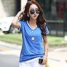 正韓 亮彩混色點點V領短袖棉質T恤 (共四色)-N.C21