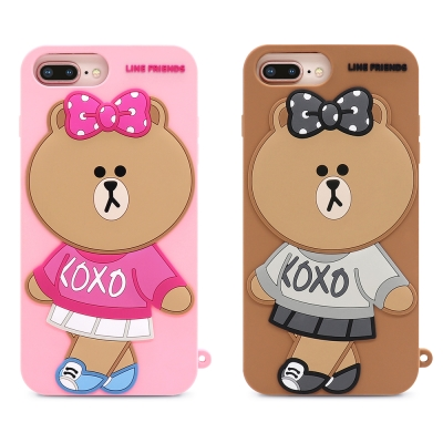 GARMMA LINE Friends 熊美 iPhone 8/7/6s+矽膠果凍套