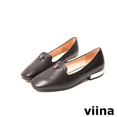 viina-休閒系列-典雅小logo配色織帶樂福鞋-經典黑