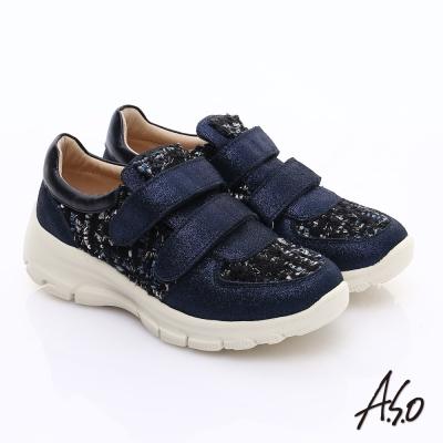 A.S.O 抗震美型 金屬牛皮拼布魔鬼氈奈米休閒鞋 深藍
