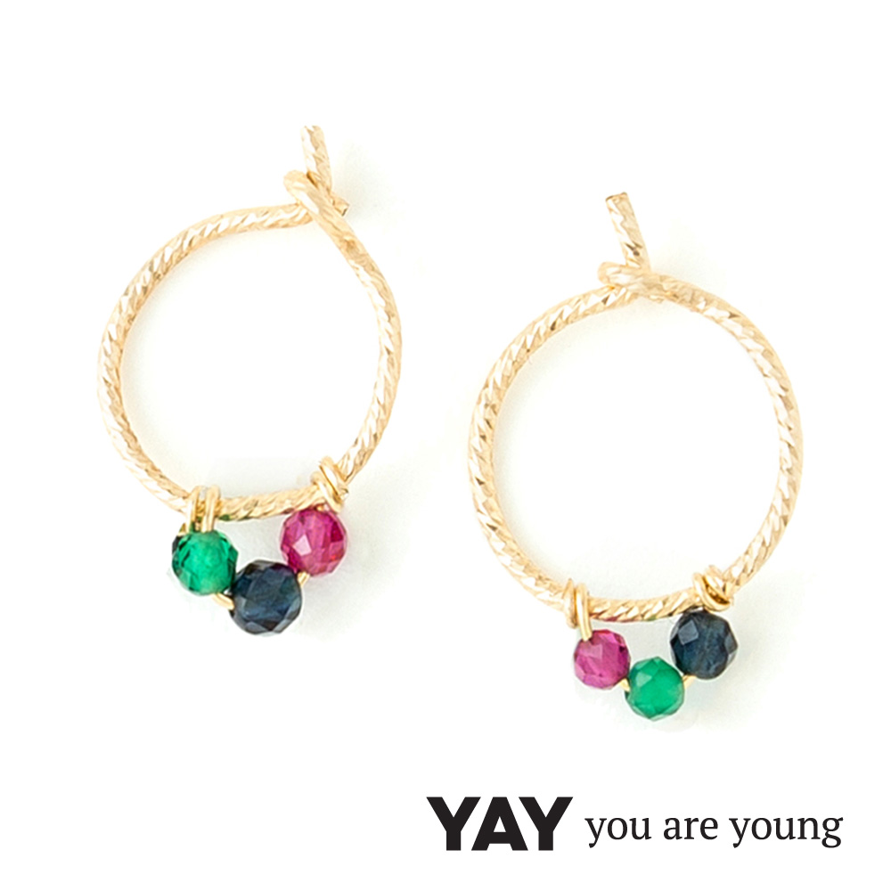 YAY You Are Young Frida 寶石花束耳環 迷你圓耳骨夾 彩鑽X星辰豆豆