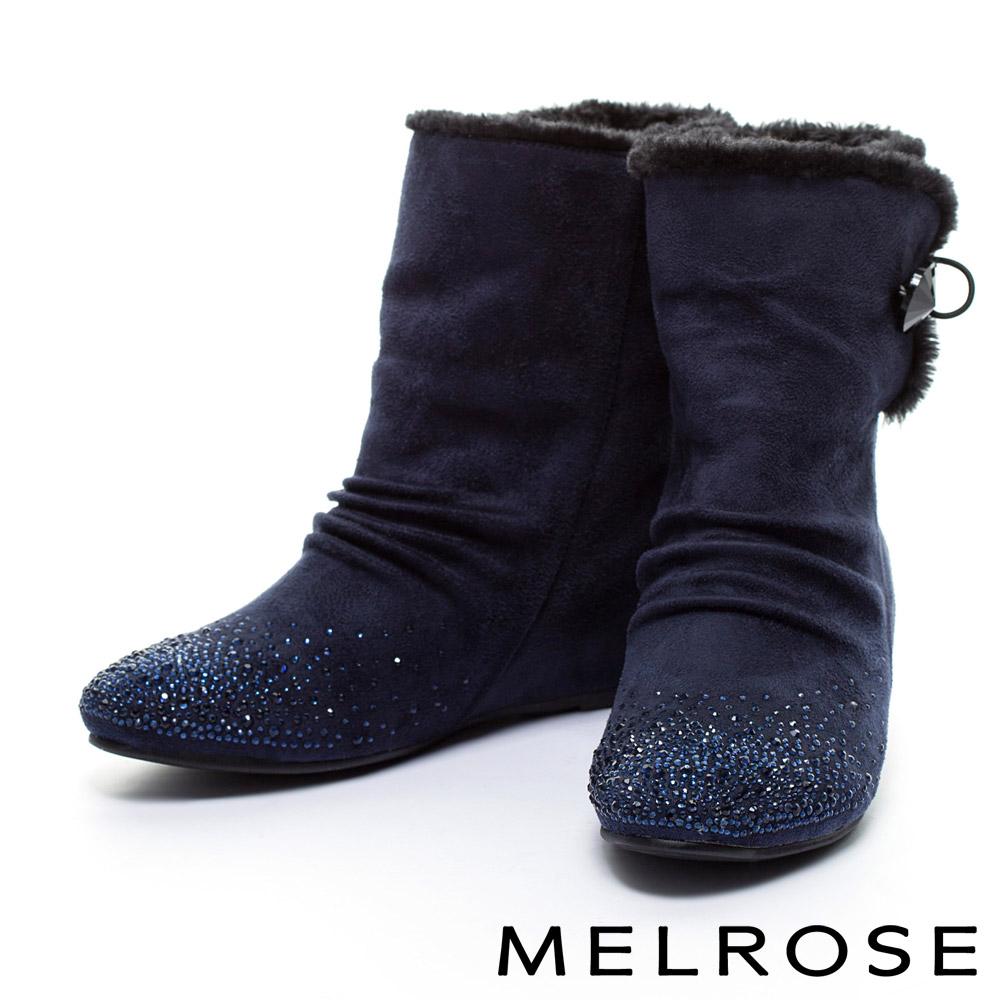 短靴MELROSE毛毛氛圍晶鑽內增高高筒短靴-藍