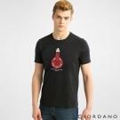 GIORDANO 男裝趣味圖案字母印花純棉修身短袖T恤- 02標誌黑色