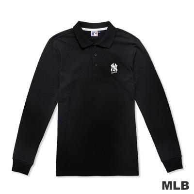 MLB-紐約洋基隊簡約休閒字母造型電繡polo衫-黑色(男)
