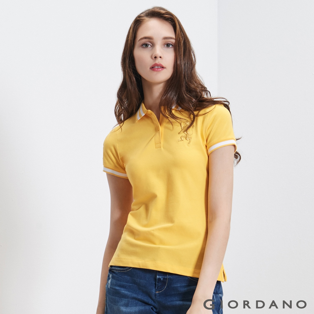 GIORDANO女裝勝利獅王3D刺繡彈力萊卡POLO衫-19水仙花黃