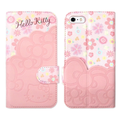Hello Kitty iPhone 6s 4.7吋 立體拼接磁扣皮套(KT碎花...