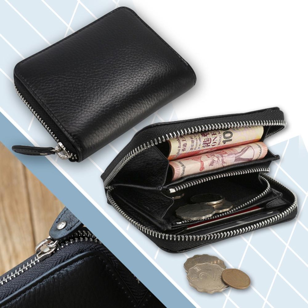 玩皮工坊-頭層牛皮多隔層大容量方塊硬幣卡片零錢包-LH283