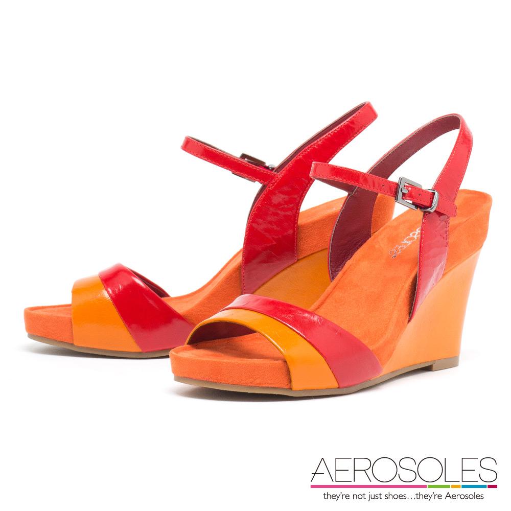 AEROSOLES 絕色摩登彩色皮革釦帶楔型涼鞋~活力橘