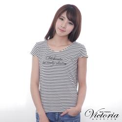 Victoria 彈性條紋LOGO印花T-女-黑白條