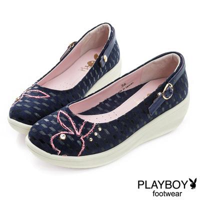 PLAYBOY 摩登瑪莉珍 GOPLAY 3D方格厚底娃娃鞋-藍(女)