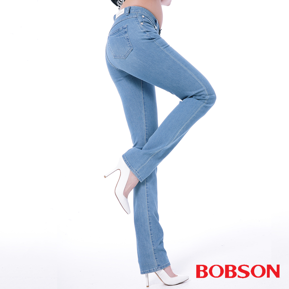 BOBSON   女款膠原蛋白直筒美肌褲-淺藍