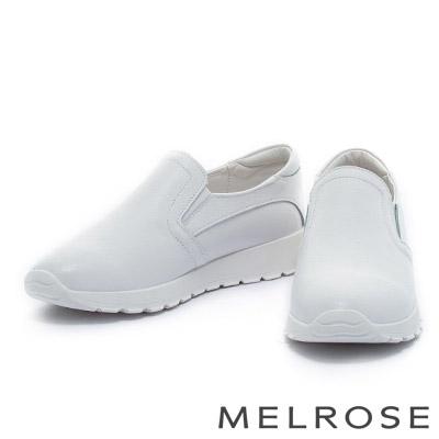 休閒鞋-MELROSE-純色牛皮厚底休閒鞋-白