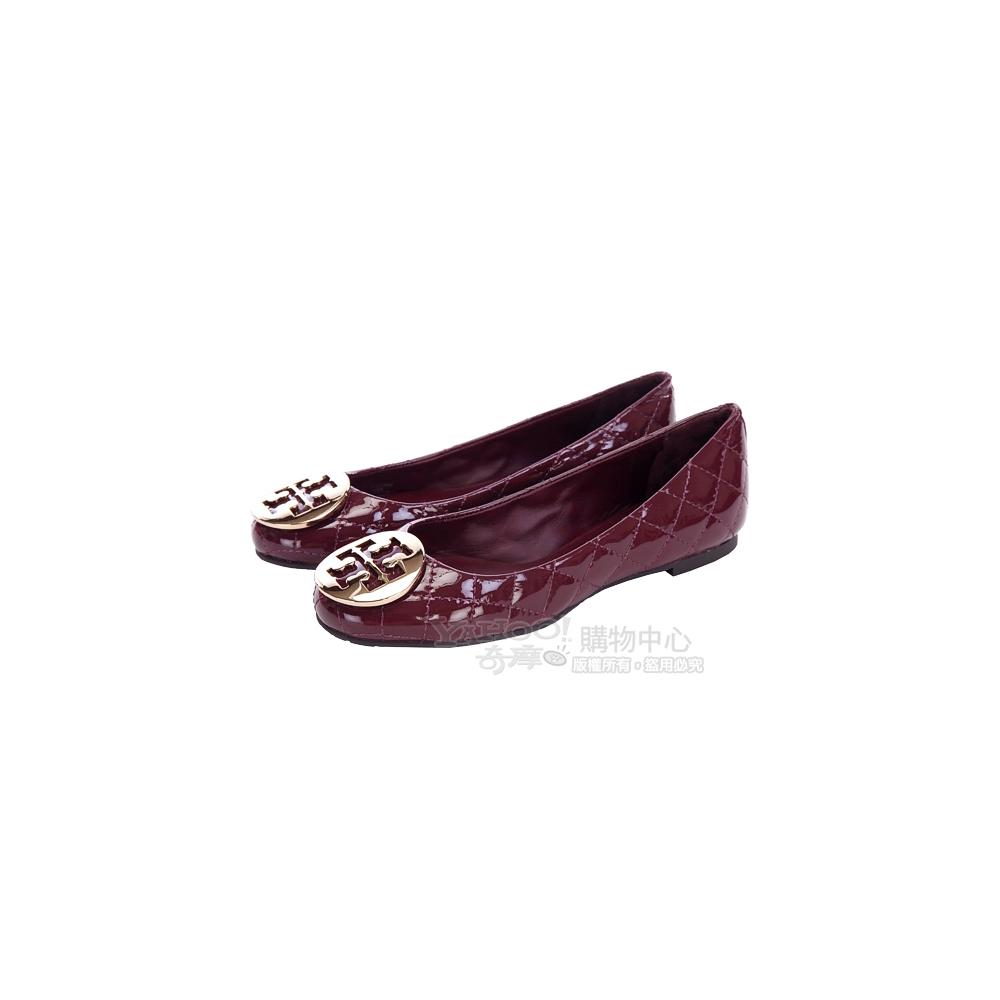 TORY BURCH QUINN BALLET酒紅色菱格漆皮娃娃鞋