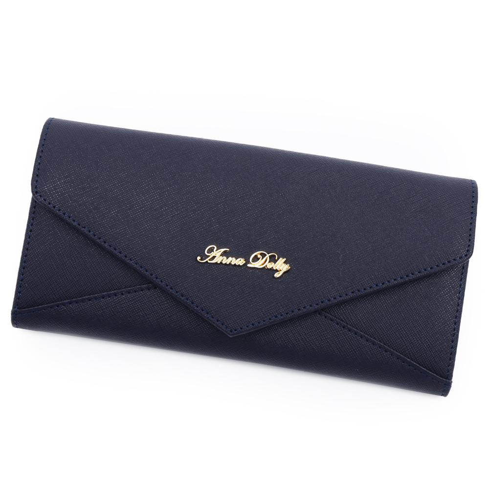 ANNA DOLLY 俏麗微甜Envelope真皮信封長夾 神秘藍