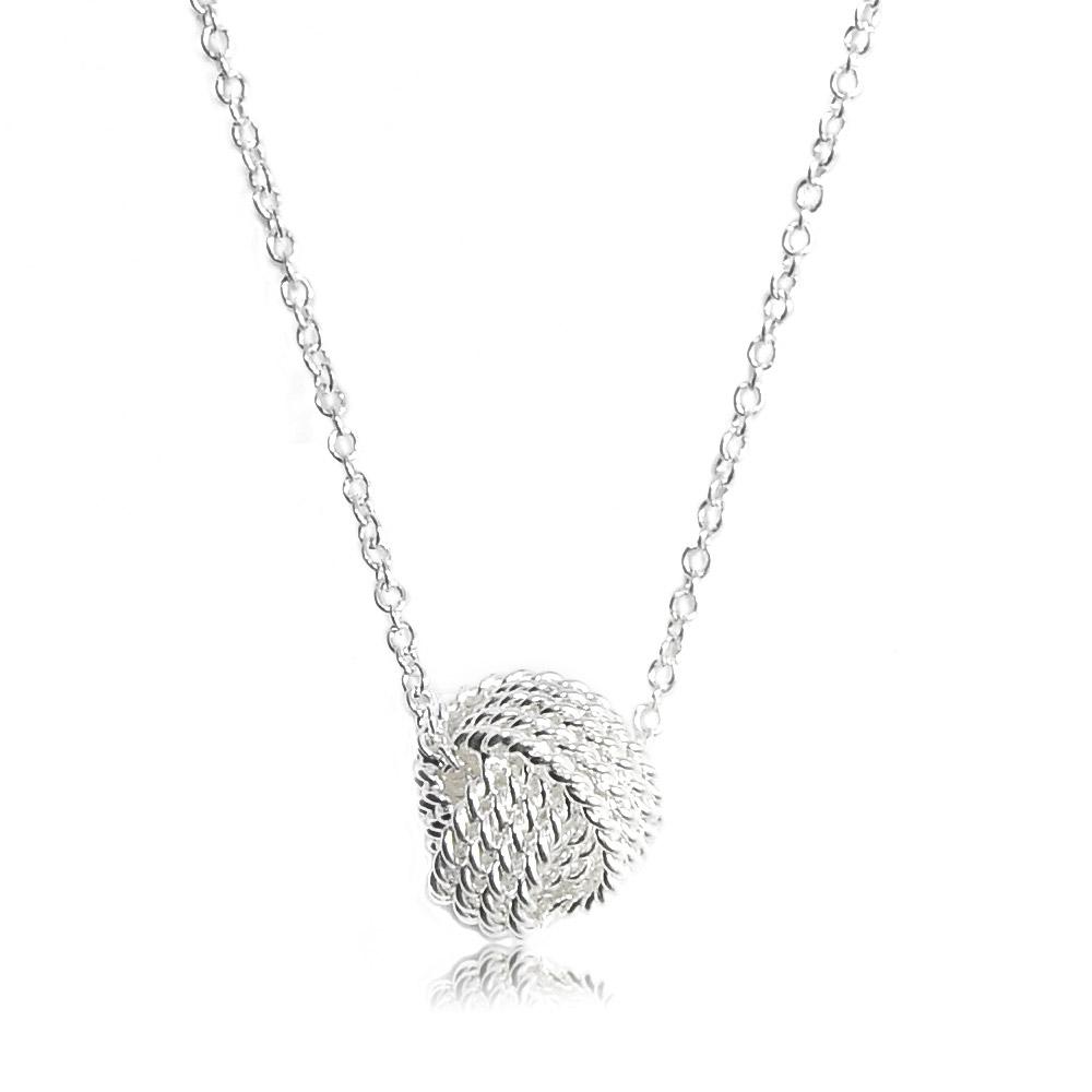 Tiffany&Co. 麻花交錯圓球純銀項鍊