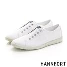 HANNFORT CARIBBEAN無綁帶氣墊帆布鞋-男-簡單白