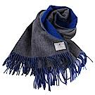 agnes b.-SPORT b.白標logo 流蘇雙面大披肩/圍巾/灰&藍