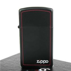 【ZIPPO】美系~LOGO字樣打火機~紅邊黑色烤漆-窄版