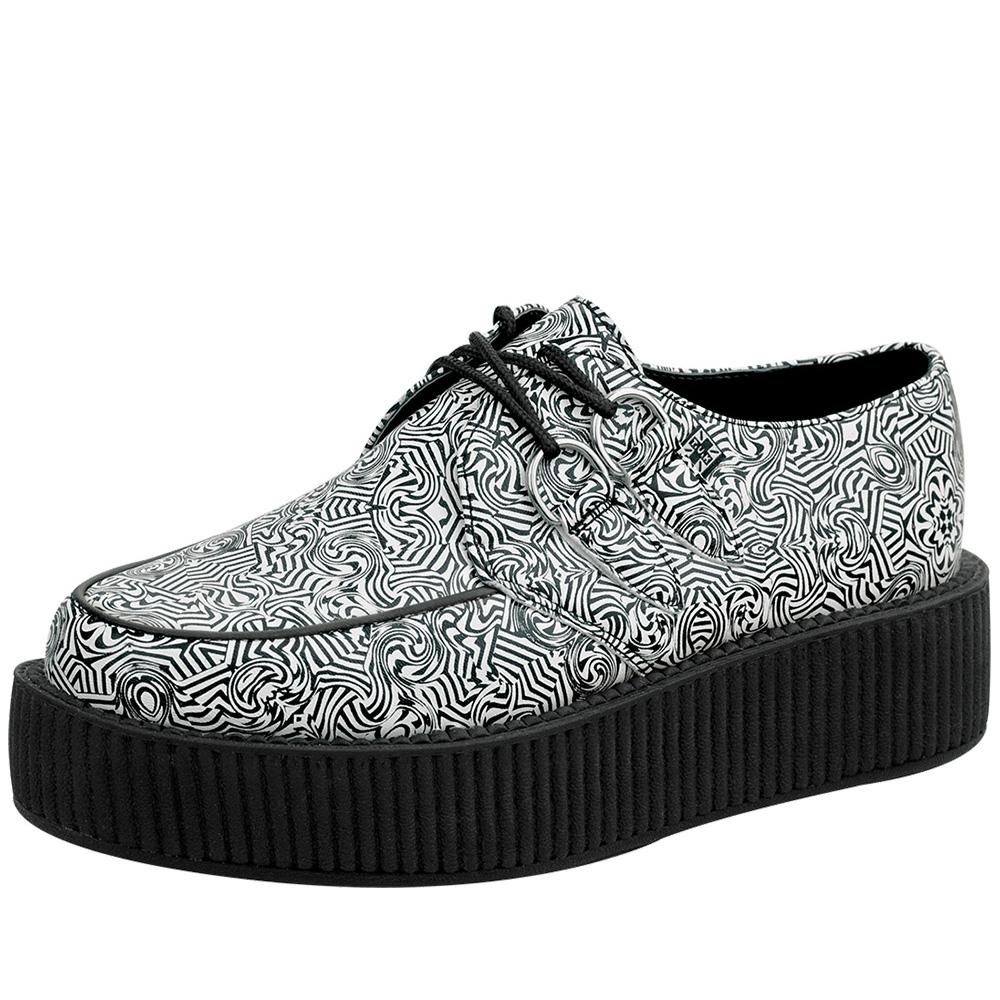 TUK普普圖騰經典5公分龐克鞋-黑/白
