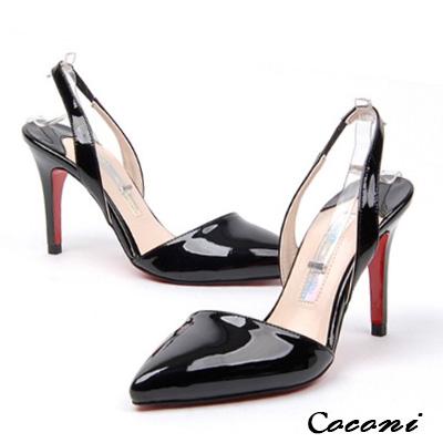 CoConi-誘人性感-素面淺口後露跟尖頭涼跟鞋
