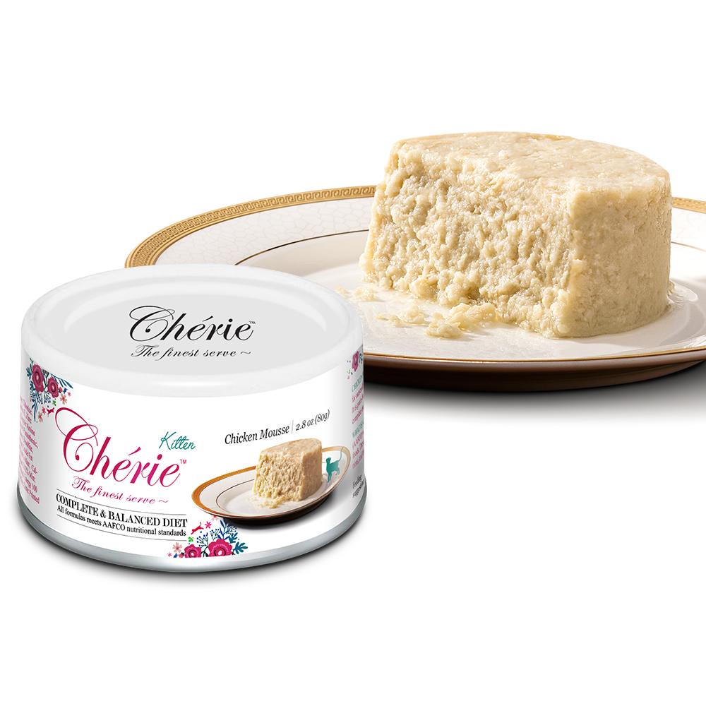 Cherie 法麗貓罐頭 全營養主食罐 天然雞肉慕斯 80g (24罐/箱)