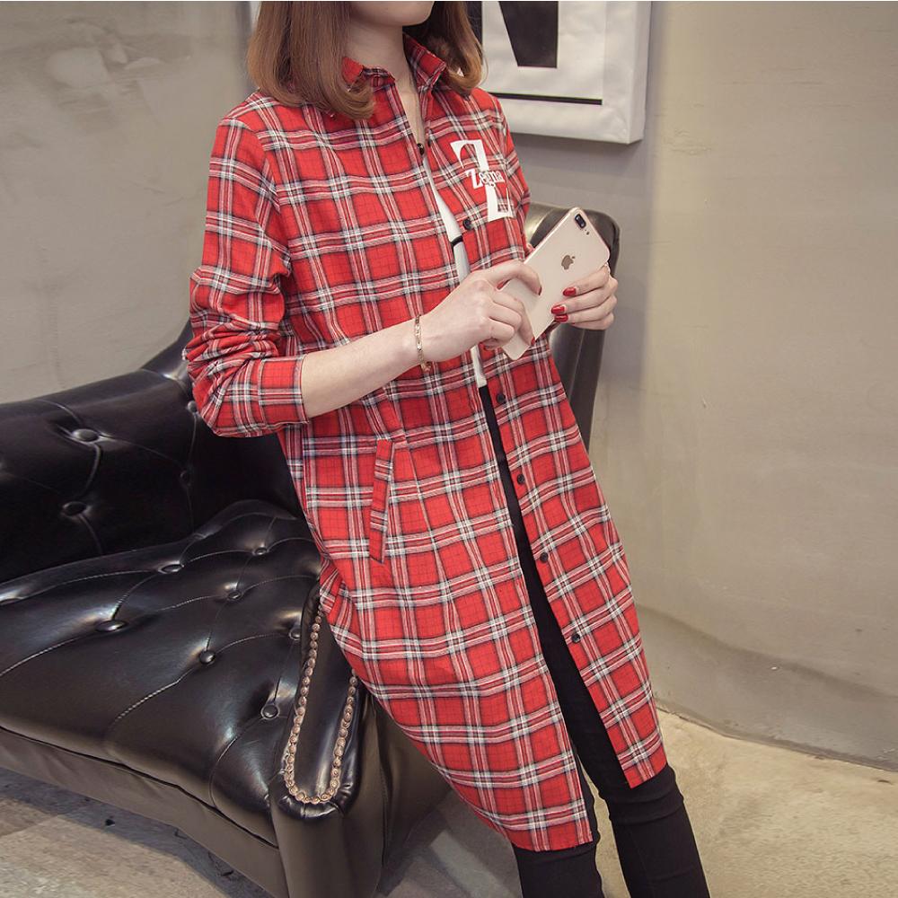中大尺碼Z字母雙線格子印花長版排釦襯衫XL~4L-Ballet Dolly (紅)