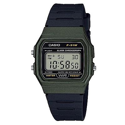 CASIO 全新配復古造型方型設計運動數位錶(F-91WM-3A)-黑x綠框-35mm