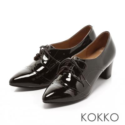 KOKKO-時髦尖頭真皮牛津粗跟鞋-純黑