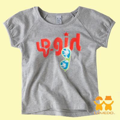 【LOVEDO-艾唯多童裝】運動潮流 閃耀女孩短袖T恤(灰)
