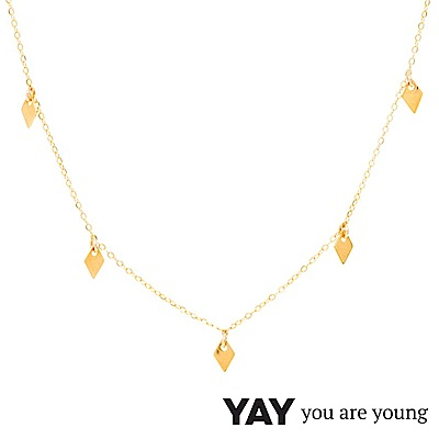 YAY You Are Young 法國品牌 Jimie 鑽石菱形簡約項鍊 金色