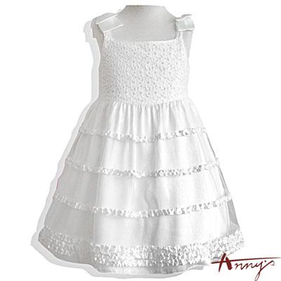 Annys甜美緞帶荷葉蝴蝶結肩飾禮服*5104白