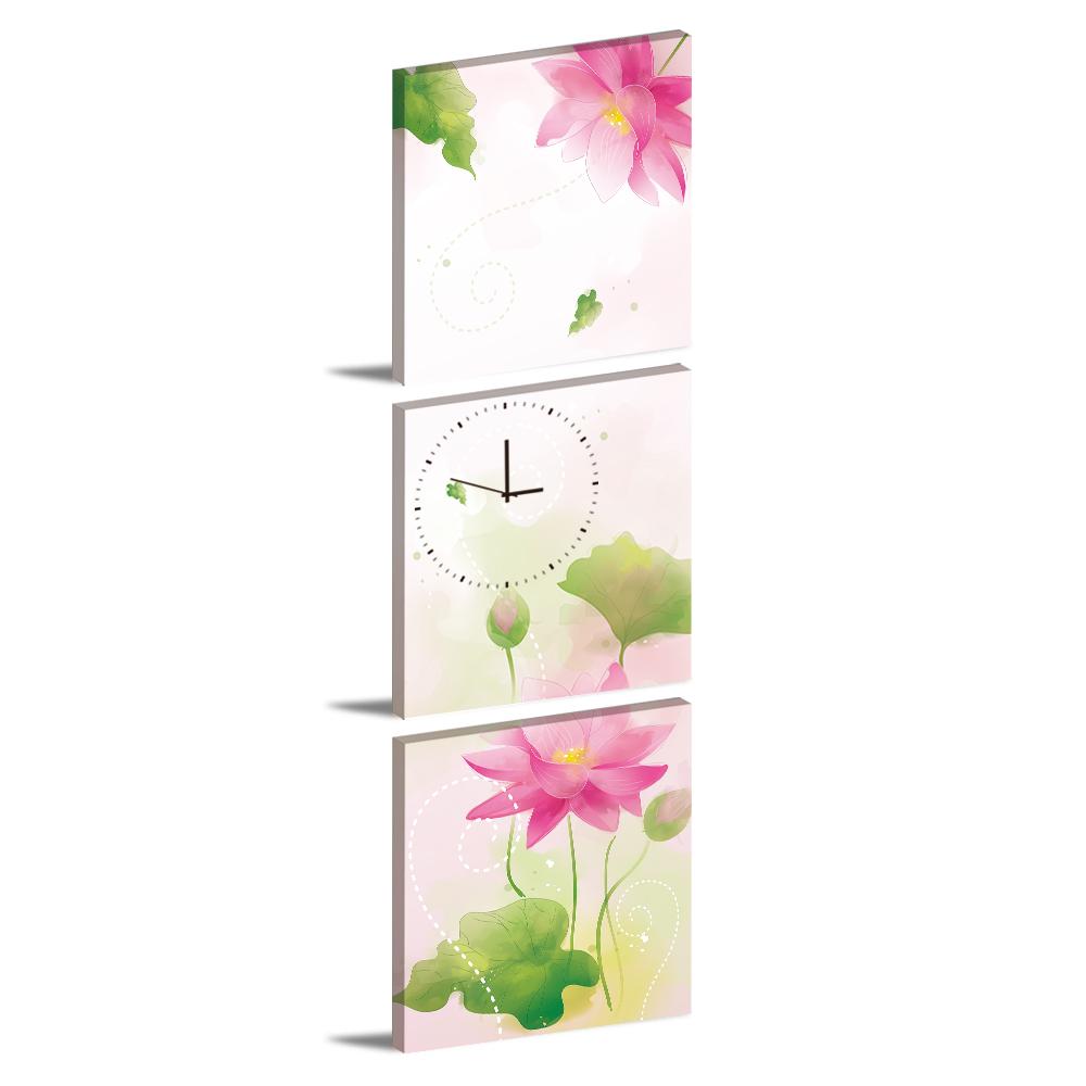 美學365-三聯客製化掛飾壁鐘時鐘畫框無框畫藝術掛畫-蓮花語-40x40cm