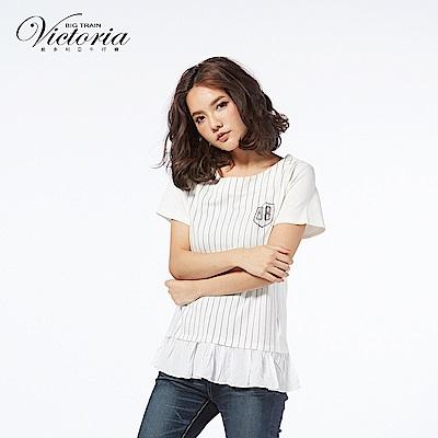 Victoria 印條異材質拼接短袖-女-白底黑條