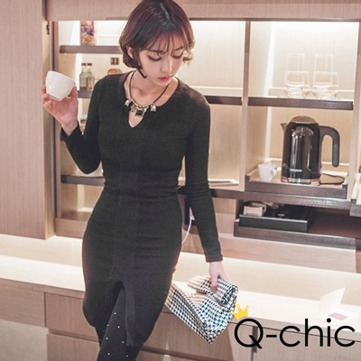 羊毛小V開襟前開衩針織洋裝 (共二色)-Q-chic