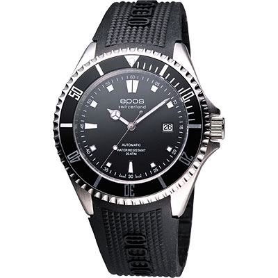 epos 深海探險200米潛水機械腕錶-黑/橡膠錶帶/44mm