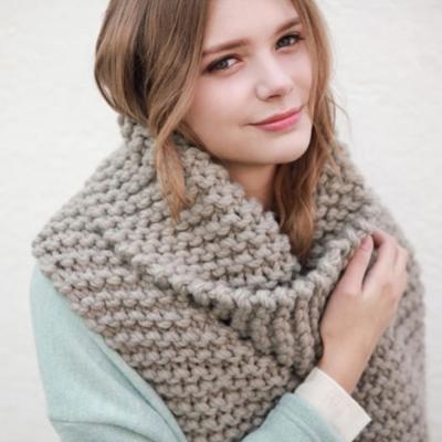 梨花HaNA-歐美純色感受粗織超長圍巾灰色