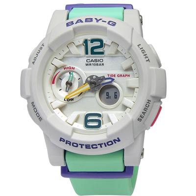 BABY-G 艷陽沙灘極限潮汐層次雙顯腕錶(BGA-180-3B)-粉綠色/44mm