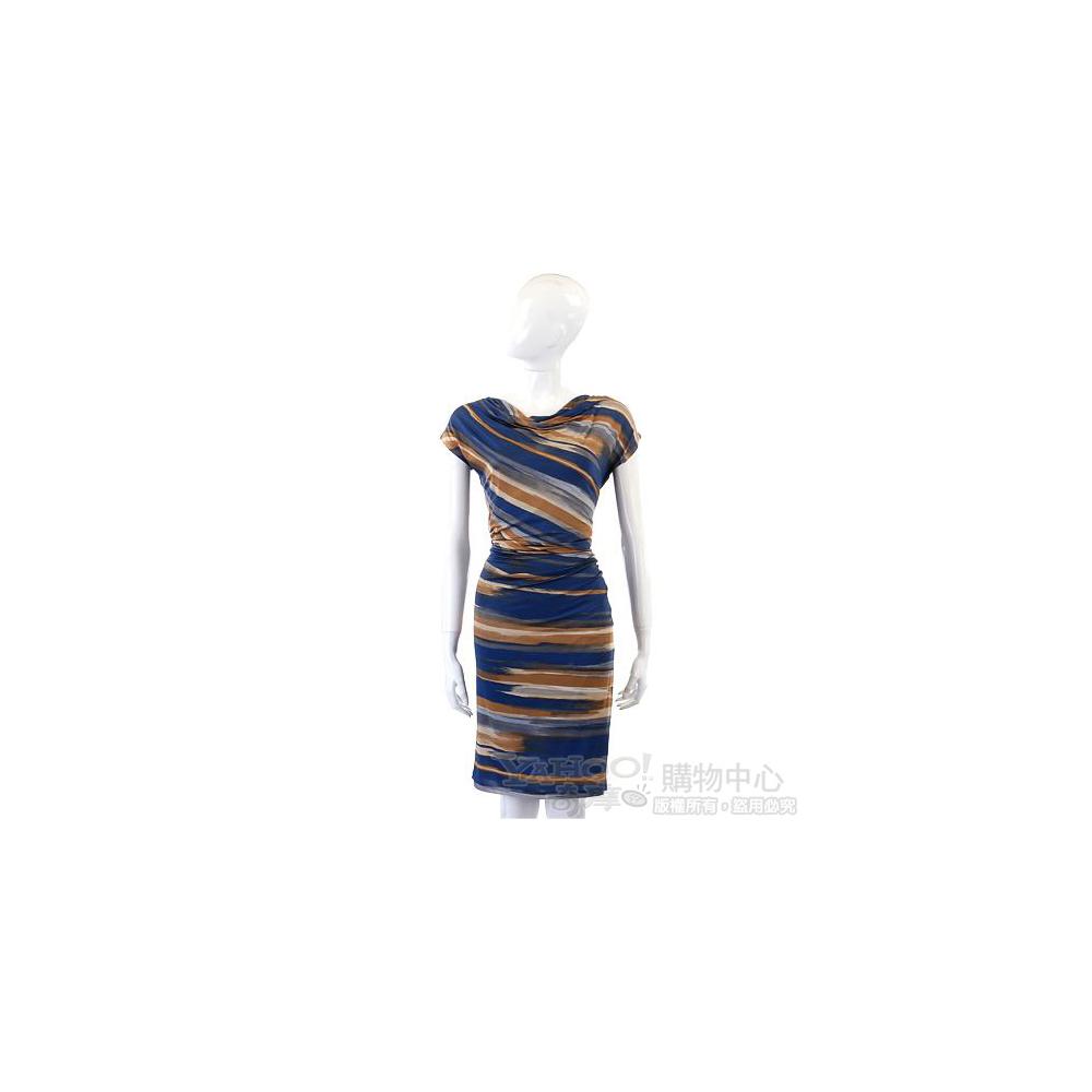 MARELLA 深藍色彩繪條紋短袖洋裝