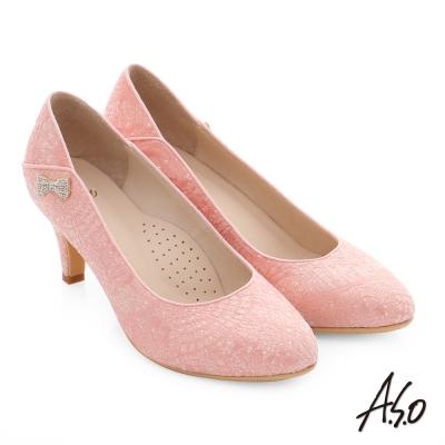 A.S.O 幸福華爾滋 精緻蕾絲水鑽高跟鞋 粉紅色