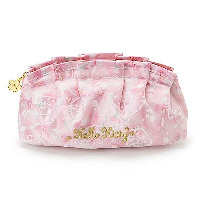 Sanrio HELLO KITTY亮澤緞布水餃型化妝包(浪漫櫻花)